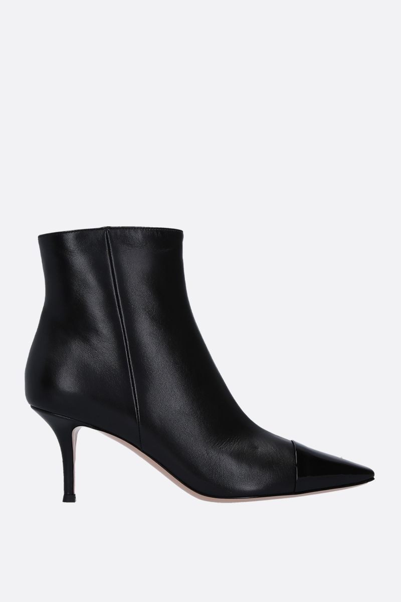 GIANVITO ROSSI: Lucy ankle boots in smooth and patent leather Color Black_1