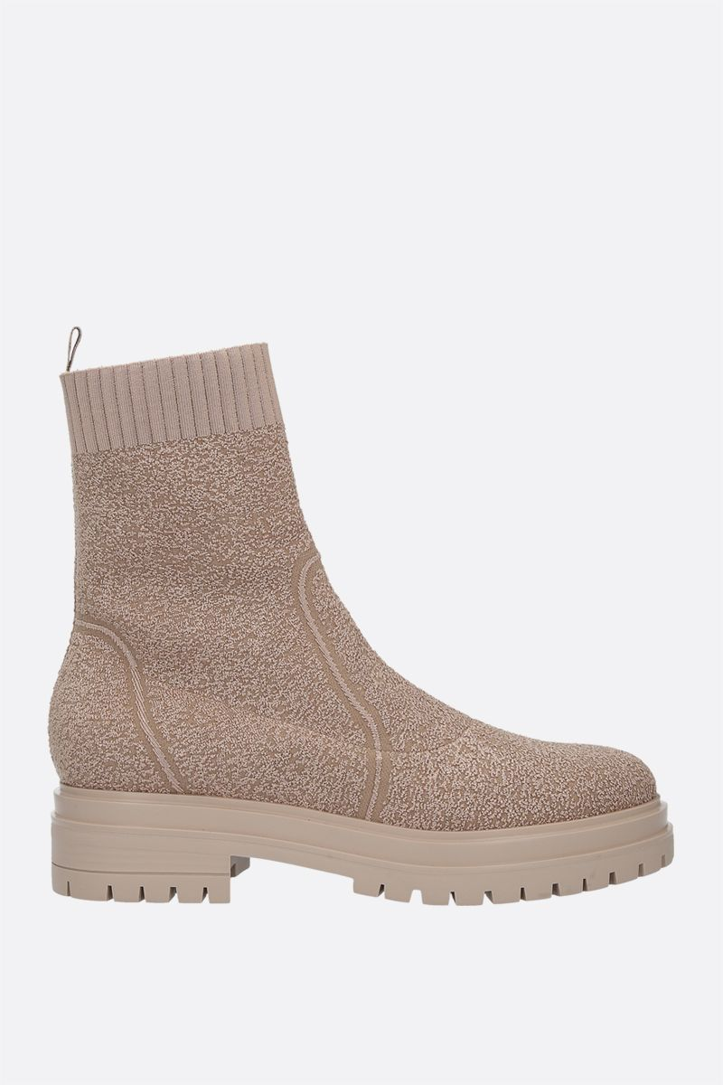 GIANVITO ROSSI: Torrance bouclè knit ankle boots Color Neutral_1