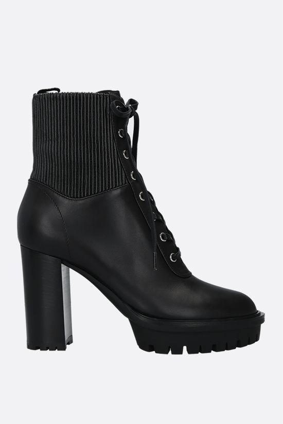 GIANVITO ROSSI: Martis smooth leather lace-up booties Color Black_1