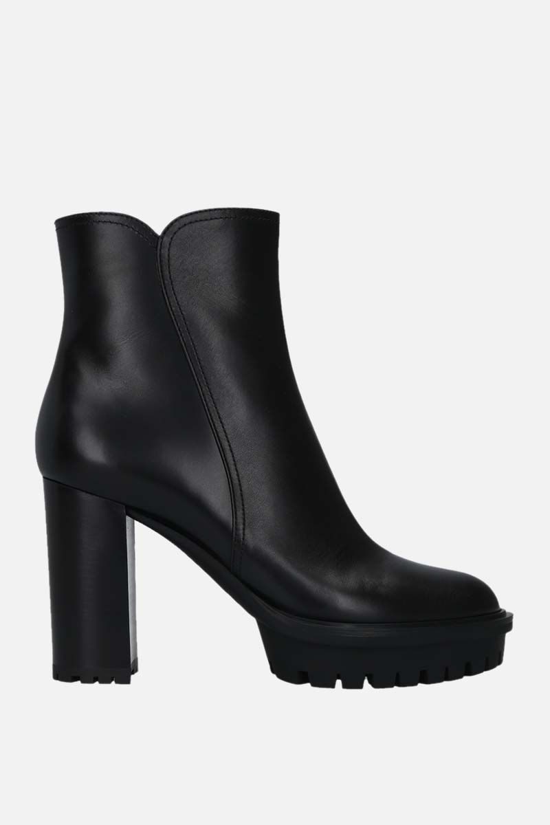 GIANVITO ROSSI: smooth leather platform booties Color Black_1