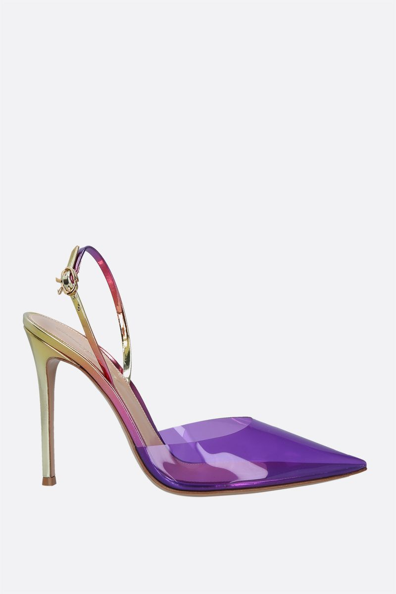 GIANVITO ROSSI: Ribbon d'Orsay slingbacks in PVC and laminated leather Color Purple_1