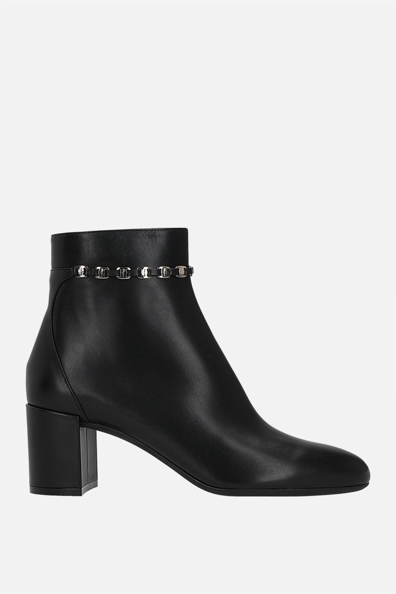 SALVATORE FERRAGAMO: Ghila smooth leather ankle boots Color Black_1