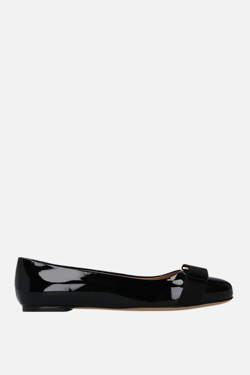 SALVATORE FERRAGAMO: Varina patent leather ballerinas Color Black_1