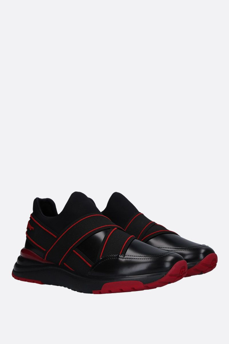 SALVATORE FERRAGAMO: Tyler sneakers in shiny leather and neoprene Color Black_2