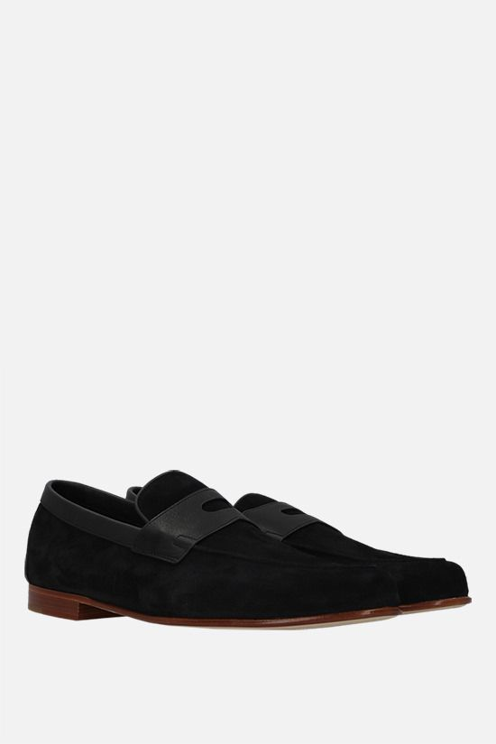 JOHN LOBB: Hendra suede loafers Color Black_2
