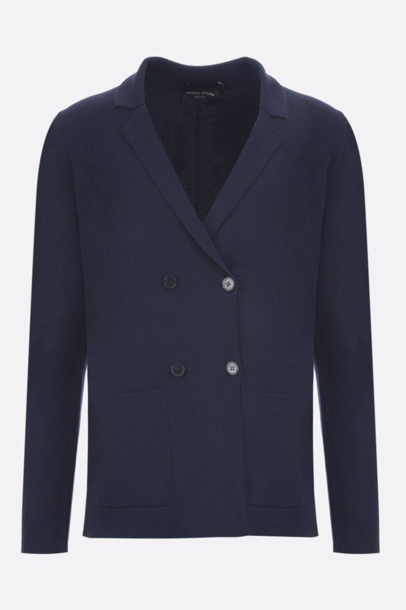 ROBERTO COLLINA: cotton knit double-breasted jacket Color Blue_1