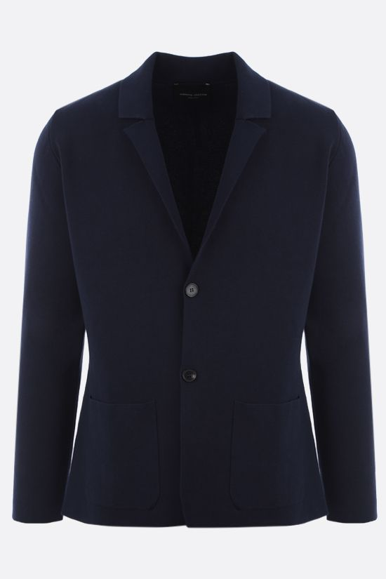 ROBERTO COLLINA: single-breasted cotton jacket Color Blue_1