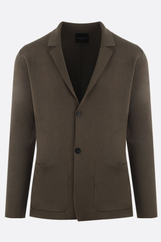 ROBERTO COLLINA: single-breasted cotton jacket Color Green_1
