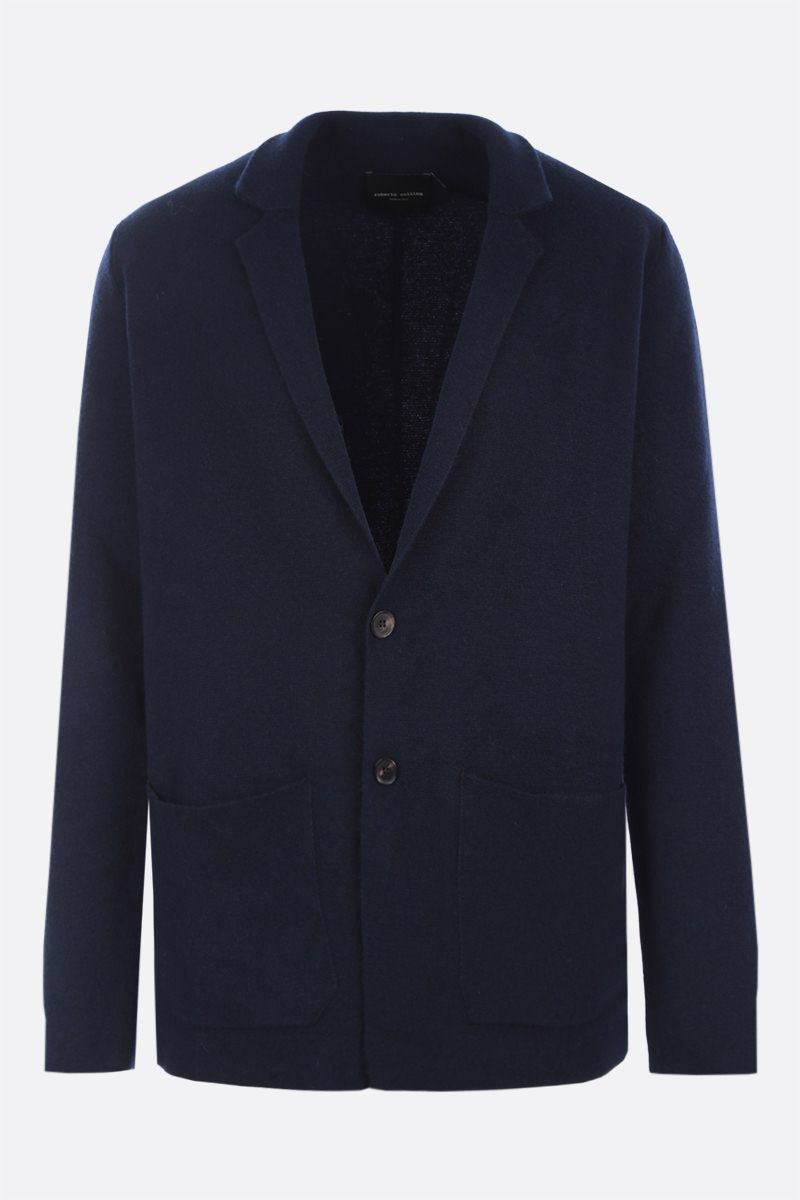 ROBERTO COLLINA: single-breasted cashmere wool blend jacket Color Blue_1