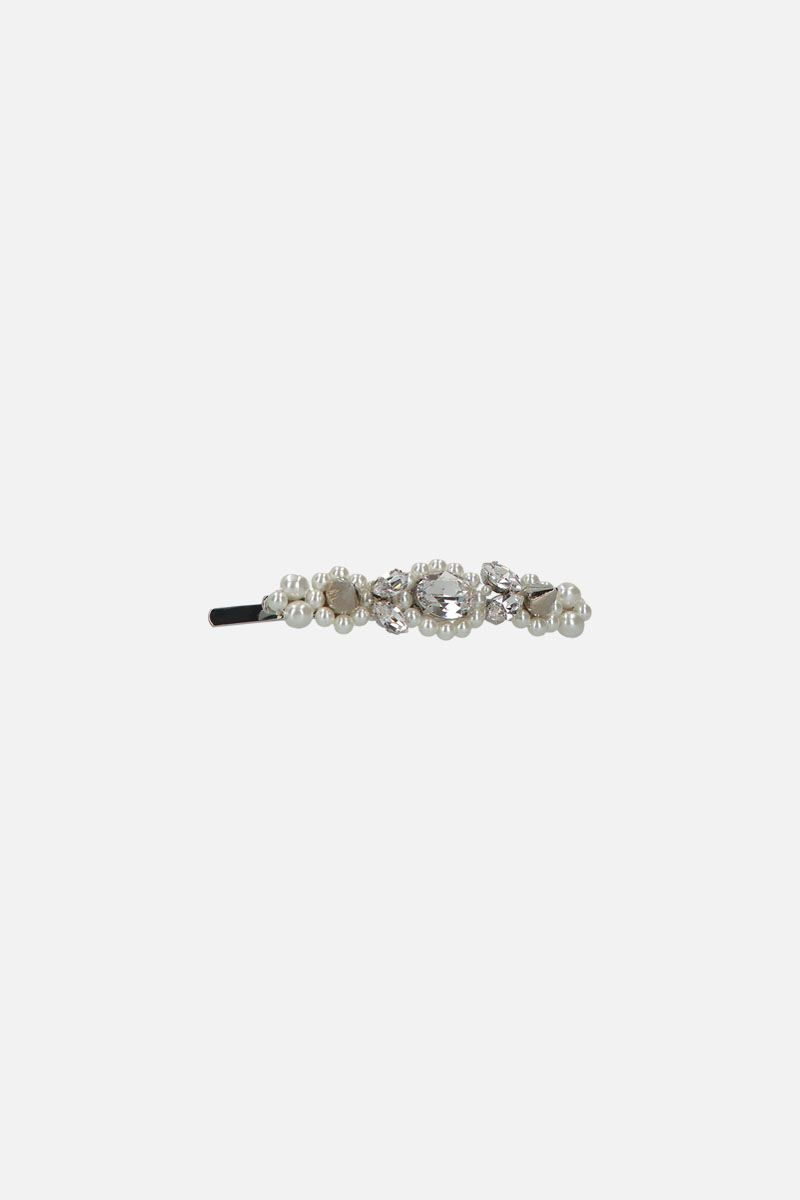 SIMONE ROCHA: crystal, pearl and stud-embellished metal hair clip Color Grey_1