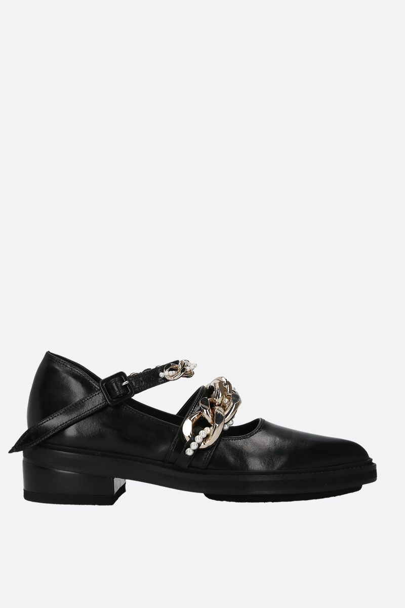 SIMONE ROCHA: chain-detailed shiny leather loafers Color Black_1