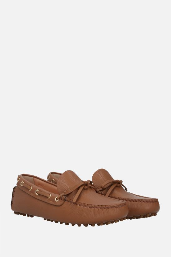 CAR SHOE: deer-embossed leather driving loafers Color Brown_2
