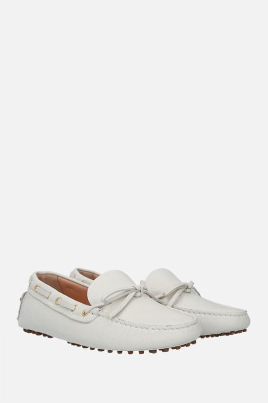 CAR SHOE: deer-embossed leather driving loafers Color White_2