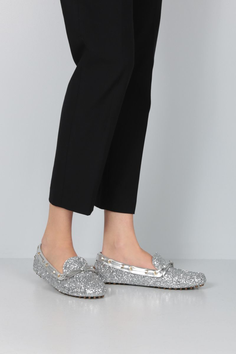 CAR SHOE: glitter fabric driving loafers Color Silver_2