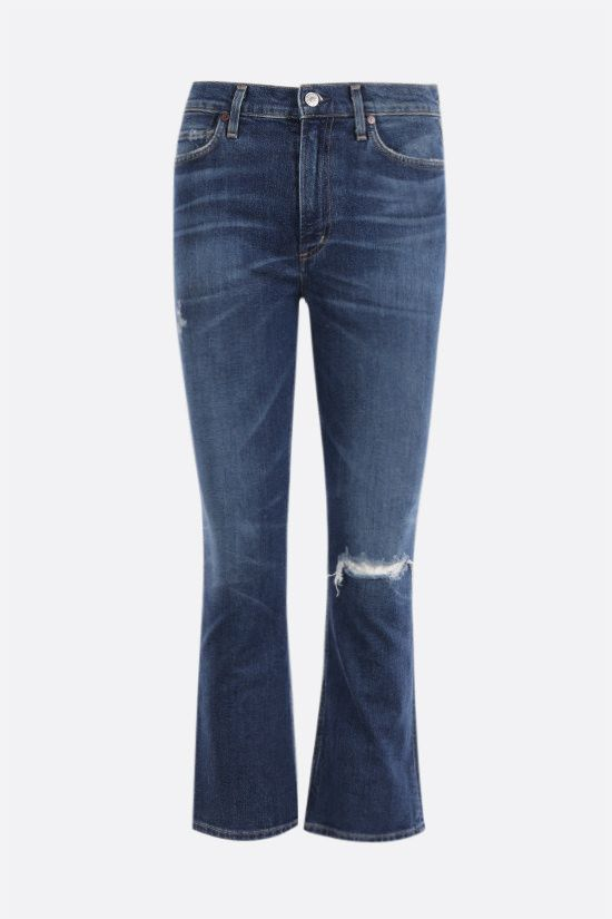 CITIZENS OF HUMANITY: Demy distressed-effect cropped flare jeans Color Blue_1