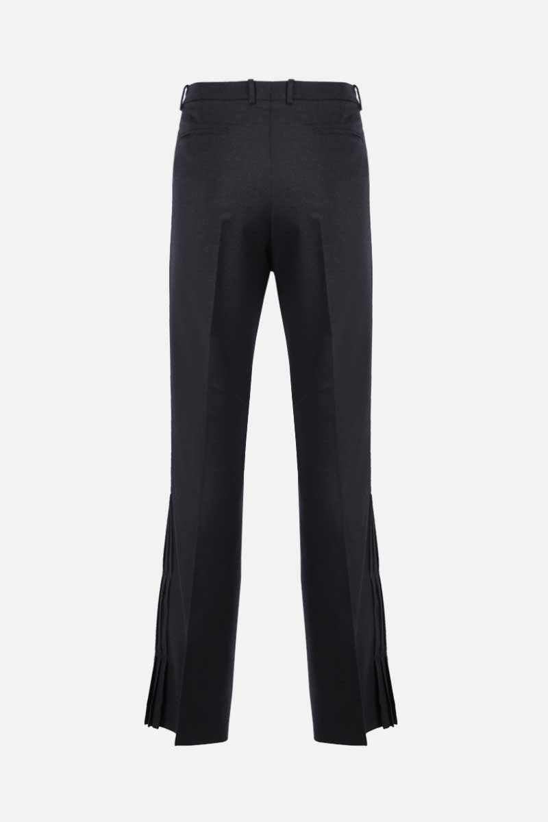 OFF WHITE: pleated hem-detailed stretch wool pants Color Black_2