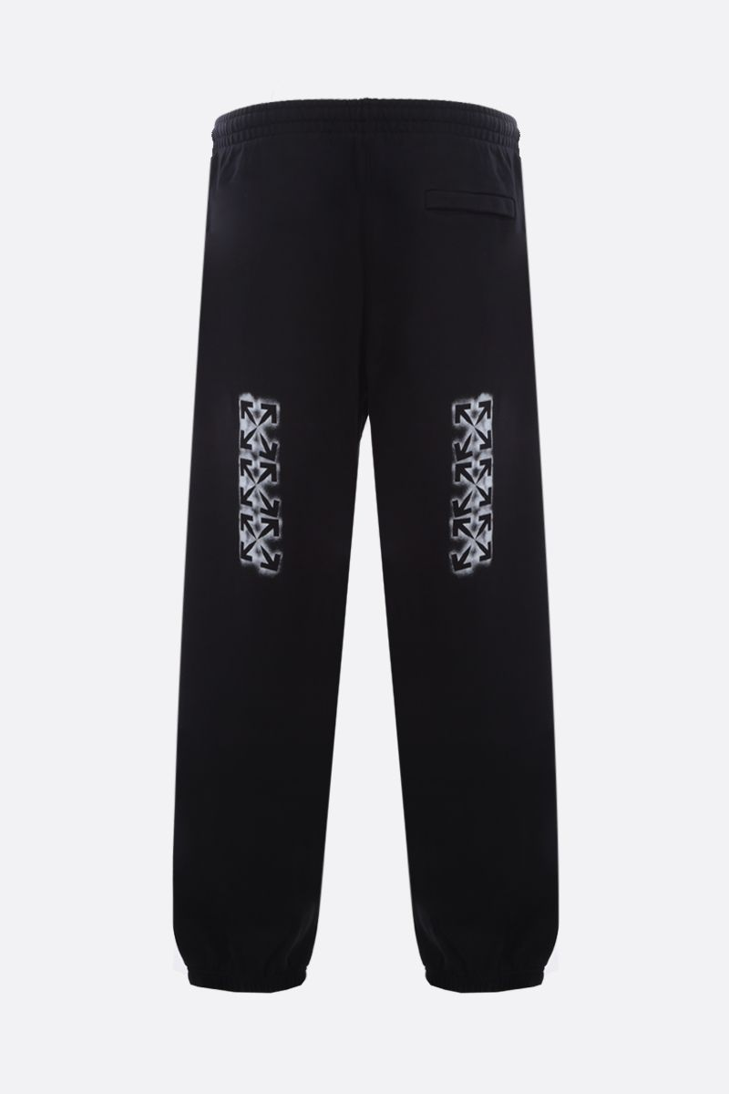 OFF WHITE: Stencil cotton joggers Color Black_2
