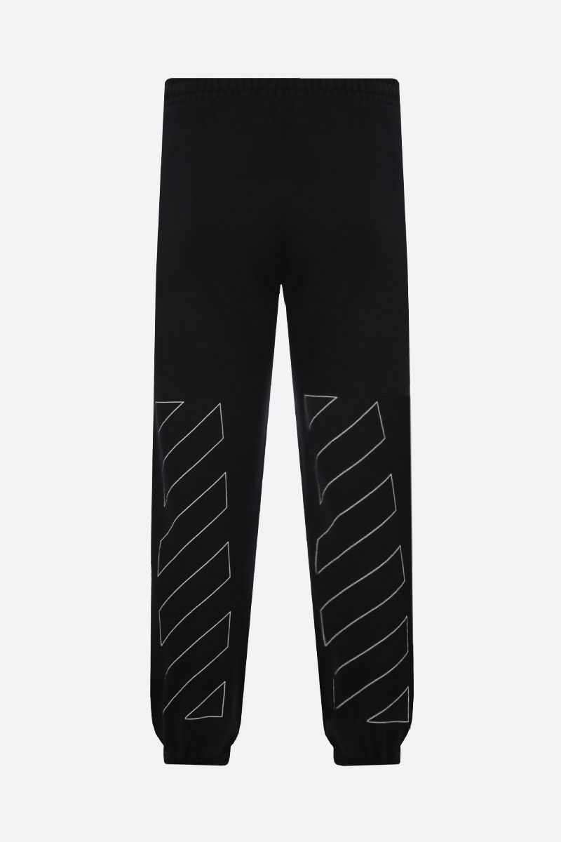 OFF WHITE: pantalone jogging in cotone stampa Diagonals Colore Nero_2