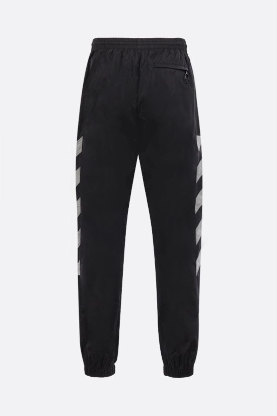 OFF WHITE: pantalone jogging Diagonals in nylon Colore Nero_2