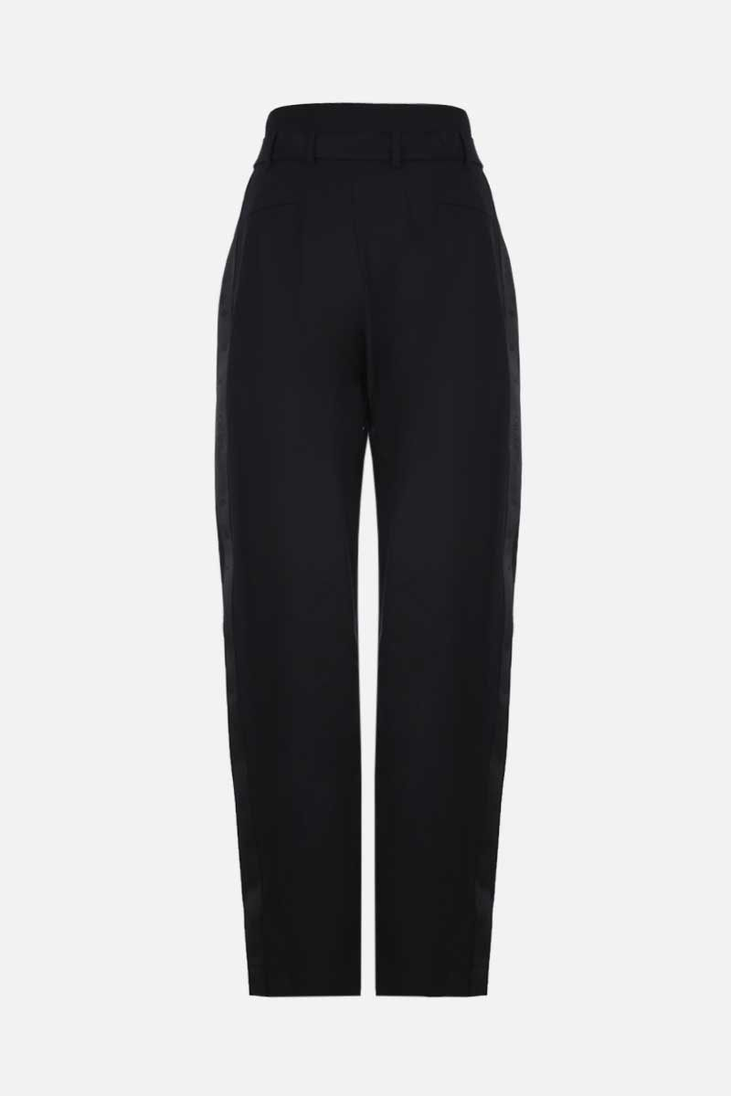 OFF WHITE: logoed band-detailed wool blend high-waist pants Color Black_2