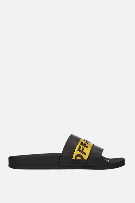 OFF WHITE: Industrial Belt smooth leather slide sandals Color Yellow_1