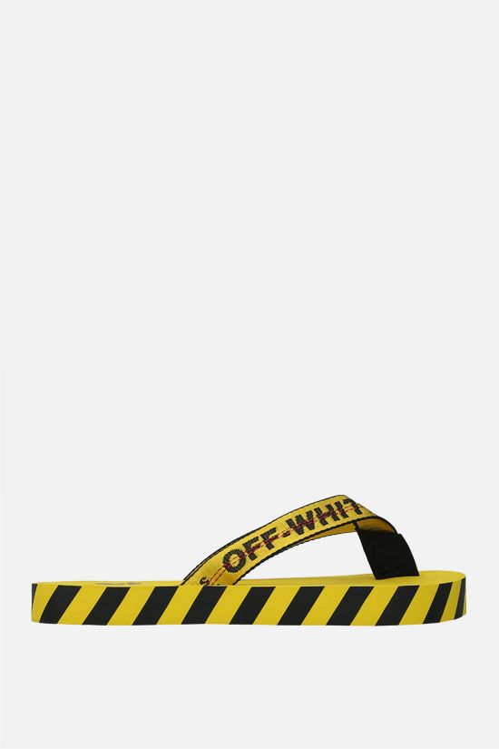 OFF WHITE: Industrial Belt nylon thong sandals Color Yellow_1