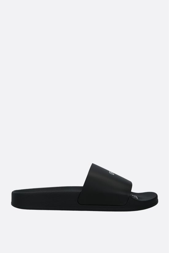 OFF WHITE: sandalo slide in ecopelle stampa OFF Colore Nero_1
