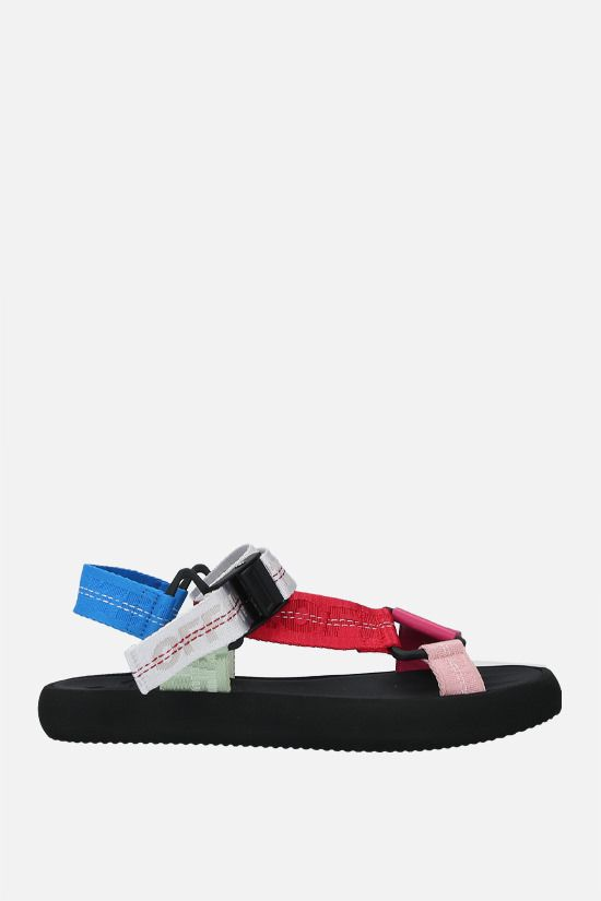 OFF WHITE: Trek smooth leather and fabric flat sandals Color Multicolor_1
