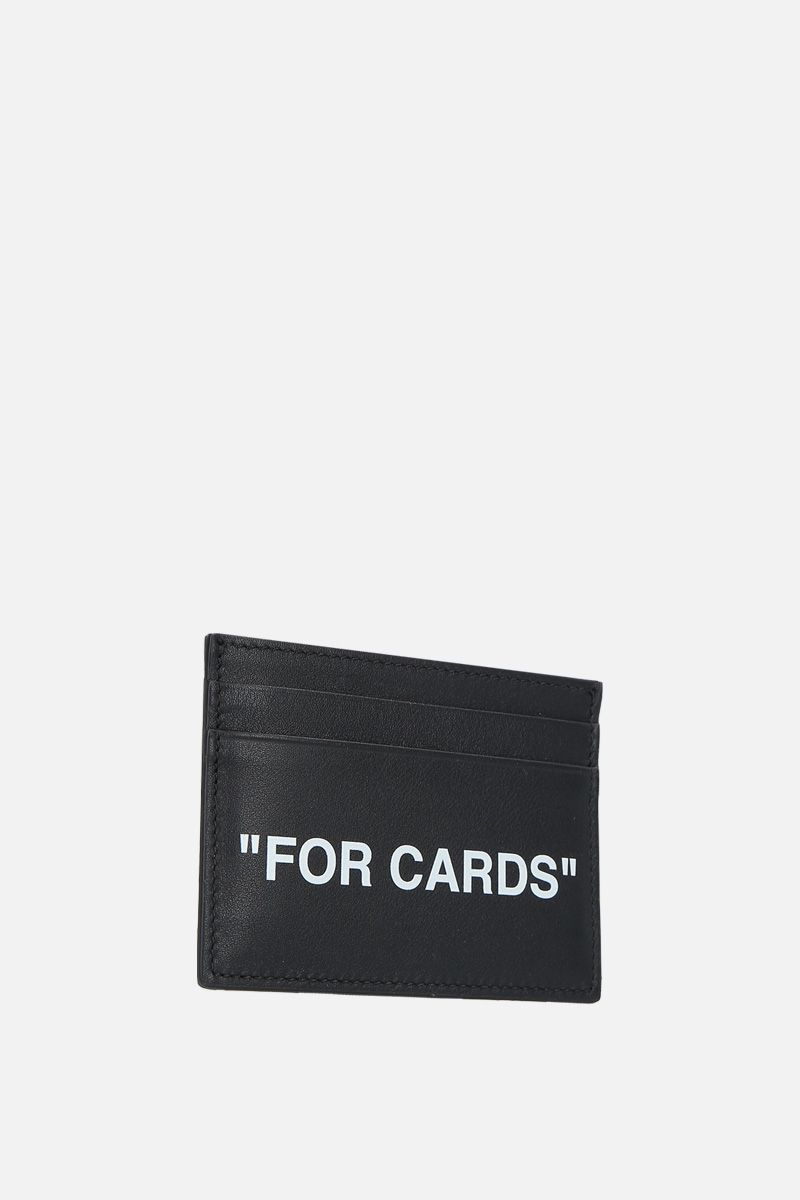 OFF WHITE: Quote smooth leather card case Color Black_2