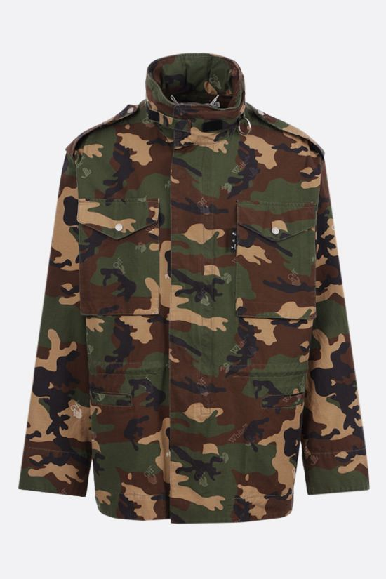 OFF WHITE: camouflage print cotton ripstop field jacket Color Multicolor_1