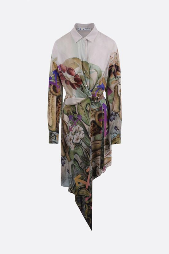 OFF WHITE: Botanical crepe de chine shirt dress Color Multicolor_1
