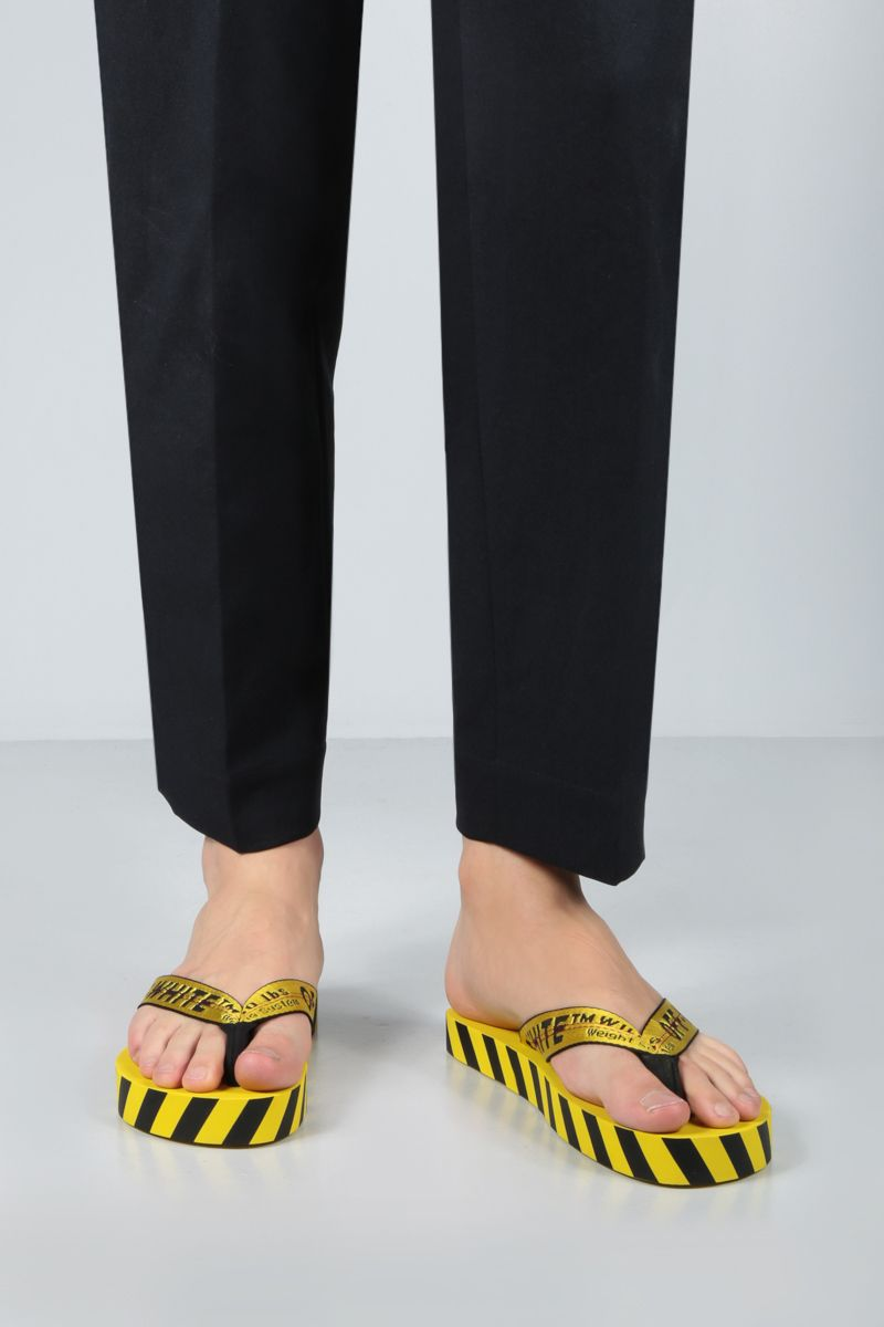 OFF WHITE: sandalo infradito Industrial Belt in nylon Colore Giallo_2