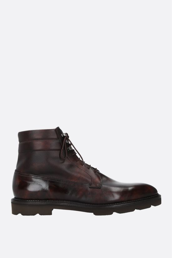 JOHN LOBB: Alder shiny and grainy leather ankle boots Color Brown_1