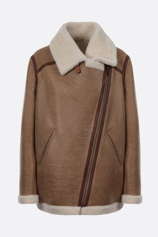 ISABEL MARANT ETOILE: Azare shearling aviator jacket Color Neutral_1