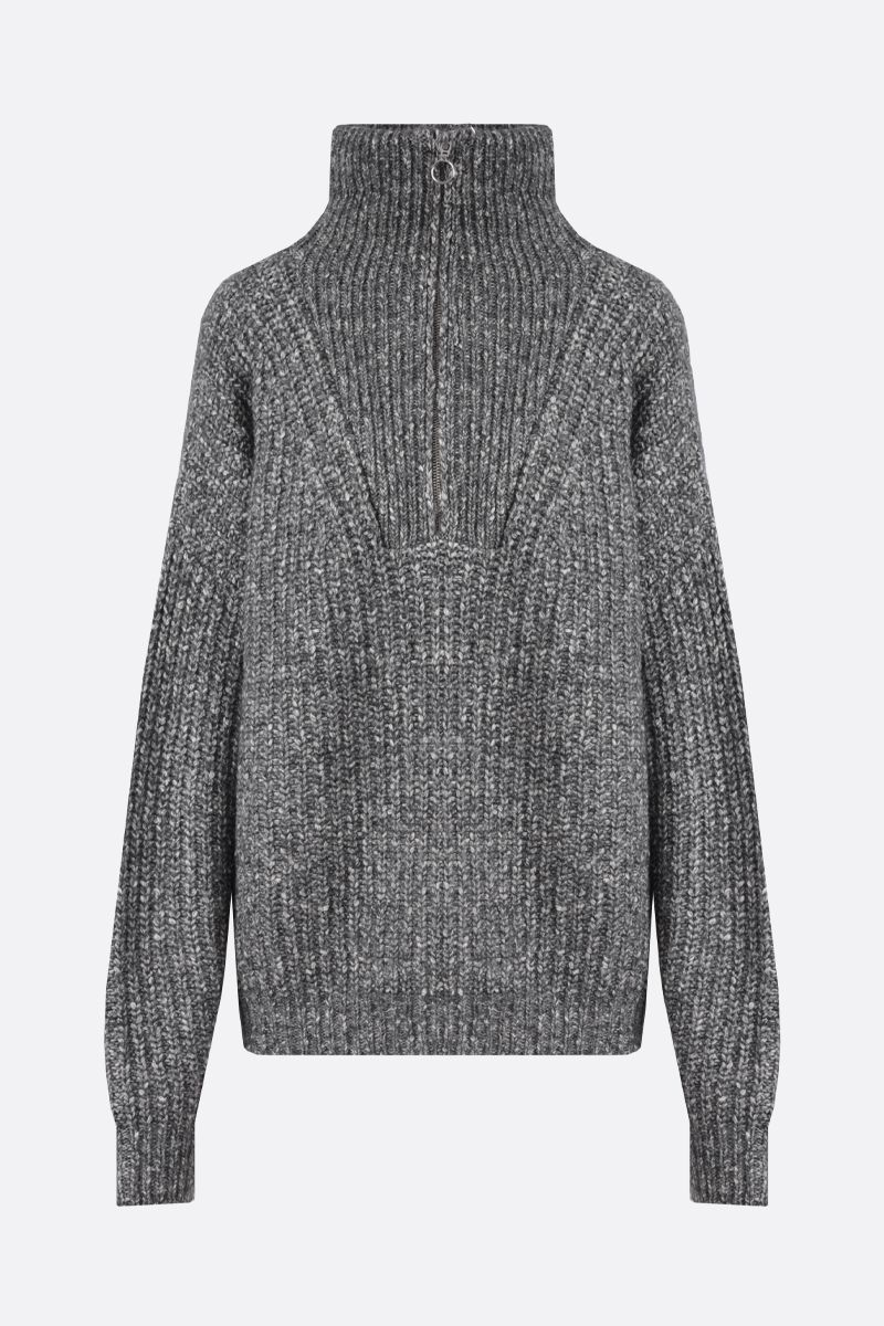 ISABEL MARANT ETOILE: Myclan cotton wool blend oversize pullover Color Grey_1