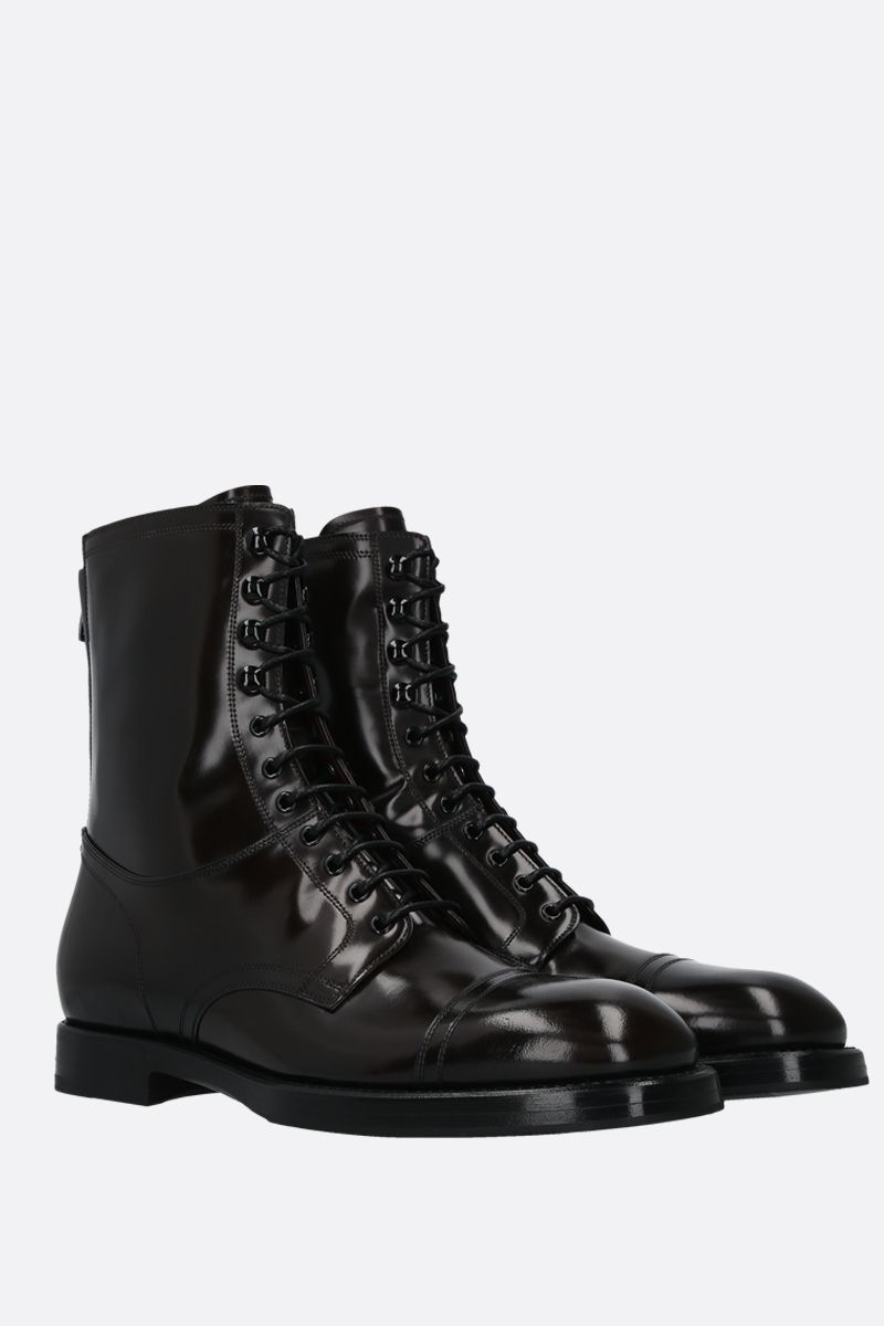 DOLCE & GABBANA: Michelangelo shiny leather combat boots Color Brown_2