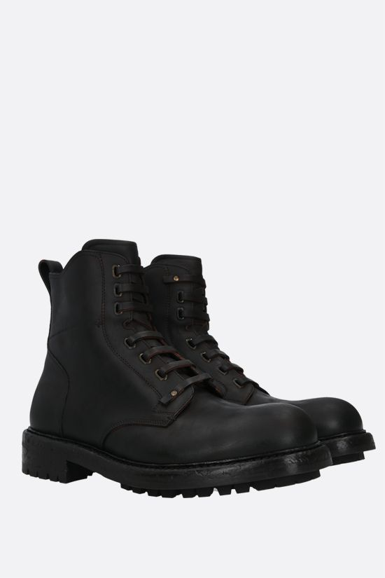 DOLCE & GABBANA: Bernini matte leather combat boots Color Brown_2