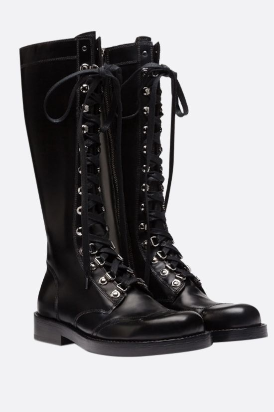 DOLCE & GABBANA: Bernini smooth leather combat boots Color Black_2