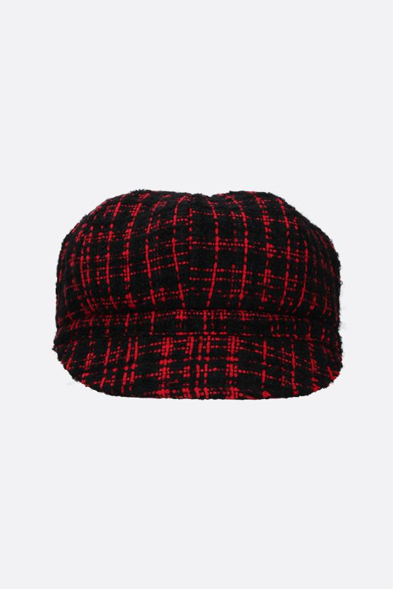 DOLCE & GABBANA: DG-detailed tweed baker boy cap Color Black_1