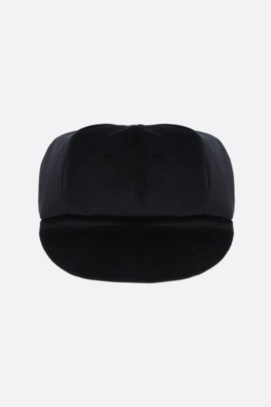 DOLCE & GABBANA: DG-detailed velvet baker boy cap Color Black_1