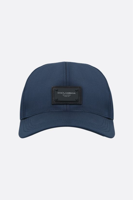 DOLCE & GABBANA: logo plate-detailed canvas baseball cap Color Blue_1