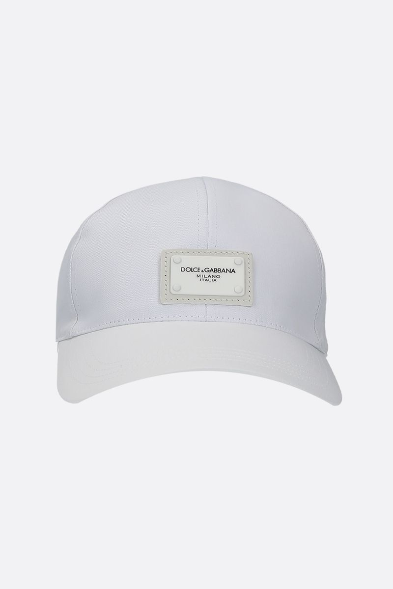 DOLCE & GABBANA: logo plate-detailed canvas baseball cap Color White_1