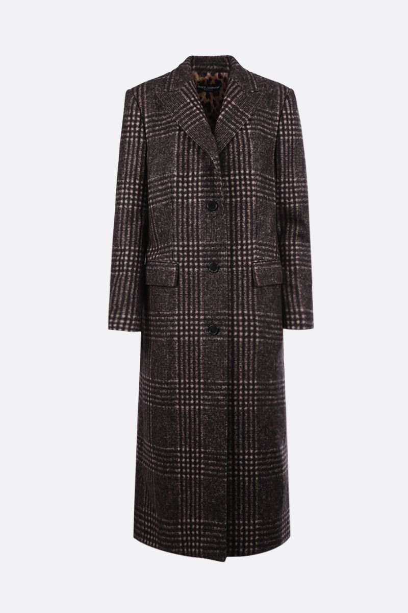 DOLCE & GABBANA: prince of Wales wool blend single-breasted coat_1