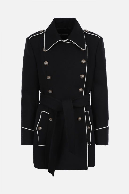 DOLCE & GABBANA: double-breasted wool coat with heraldic buttons Color Black_1