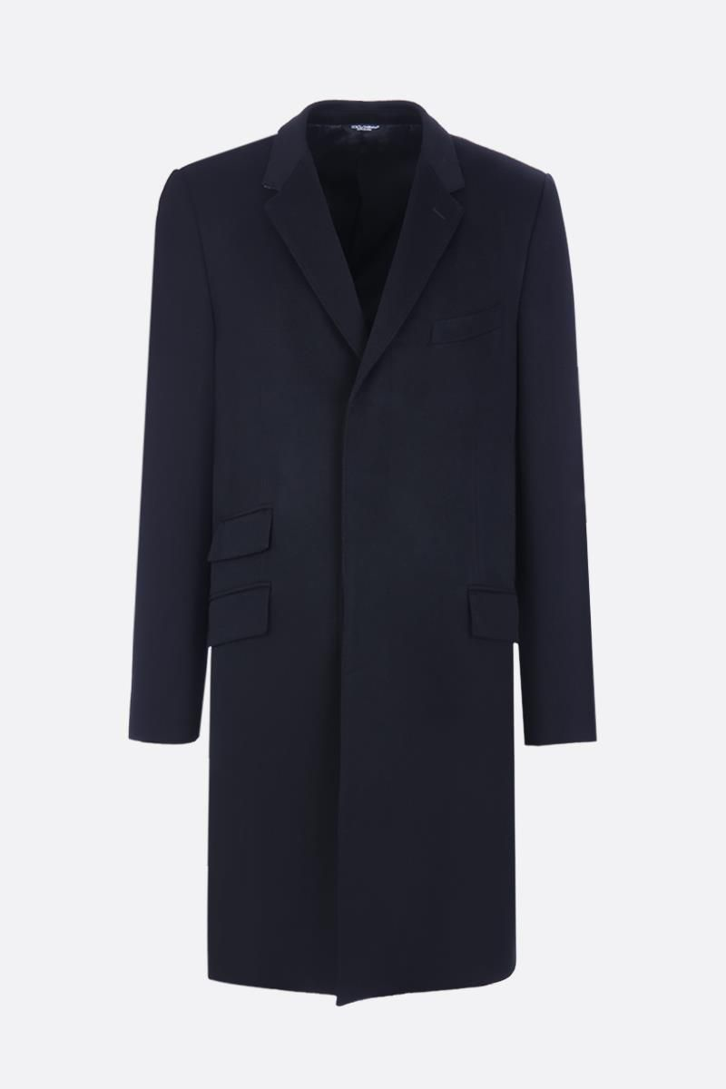 DOLCE & GABBANA: wool cashmere blend single-breasted coat Color Black_1