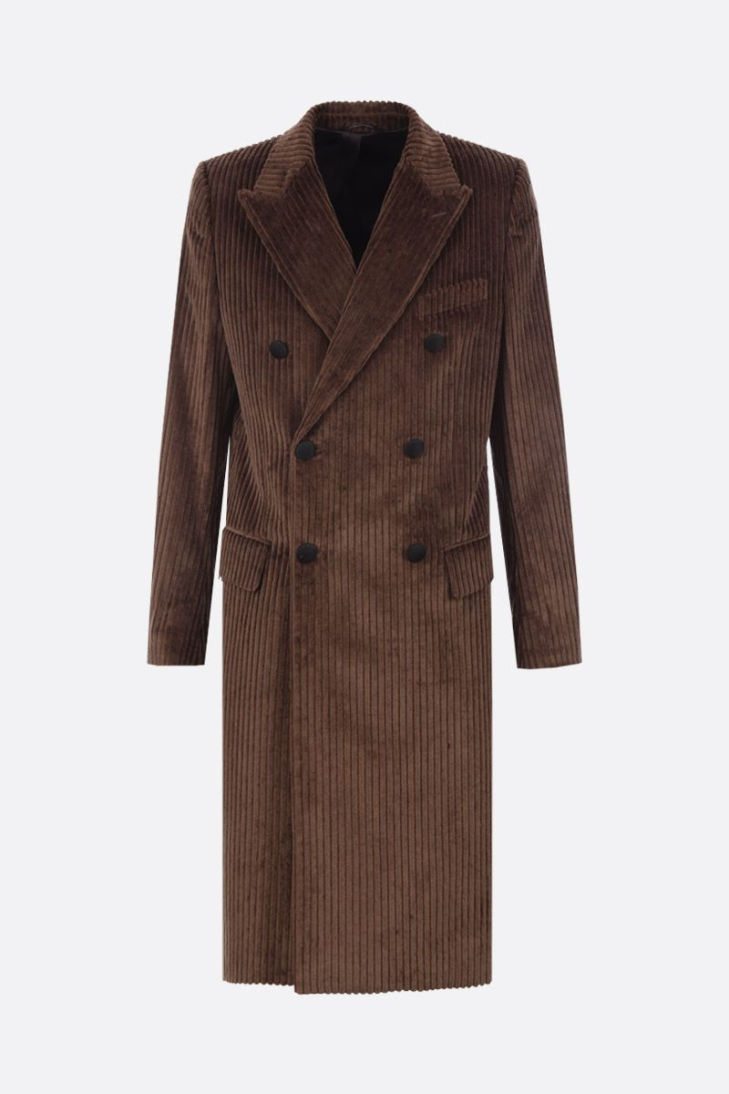 DOLCE & GABBANA: soft velvet double-breasted coat Color Brown_1
