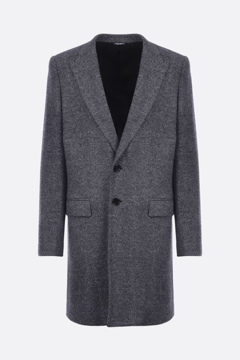 DOLCE & GABBANA: herringbone wool blend single-breasted coat Color Grey_1