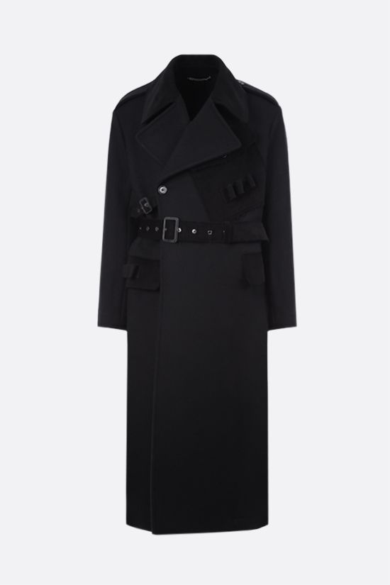 DOLCE & GABBANA: double-breasted wool blend coat Color Black_1