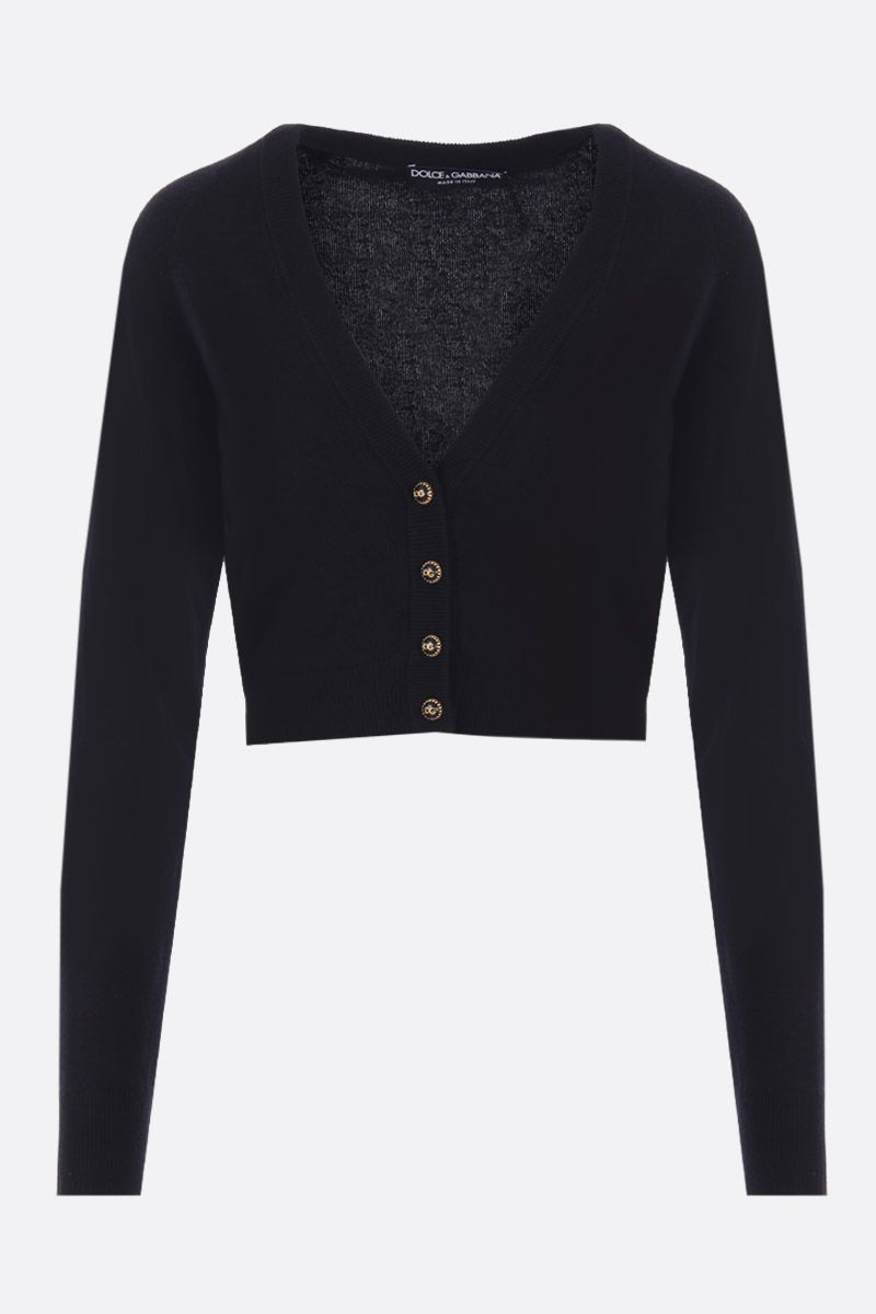 DOLCE & GABBANA: cashmere cropped cardigan Color Black_1