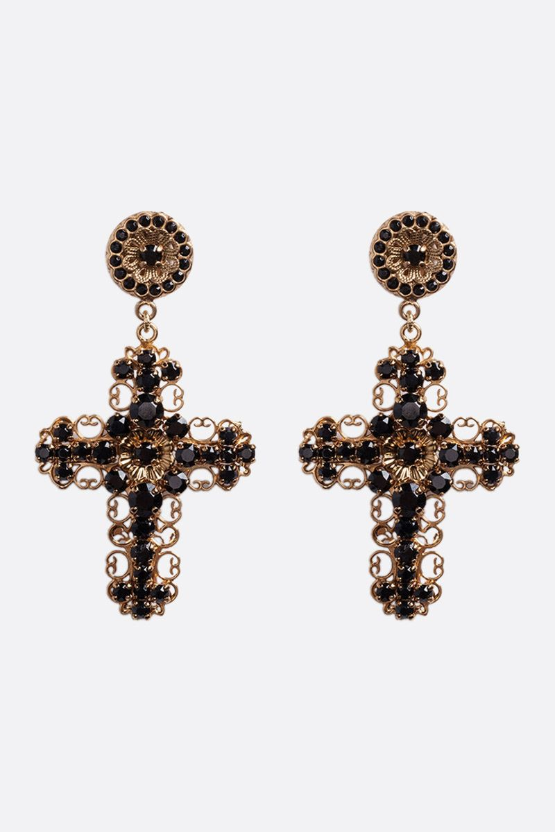 DOLCE & GABBANA: crystal-embellished brass pendant earrings Color Gold_1